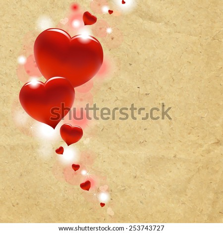Red Hearts With Cardboard Background With Gradient Mesh, Vector Illustration - stock vector