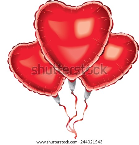 Red helium balloon heart shaped. Vector illustration - stock vector