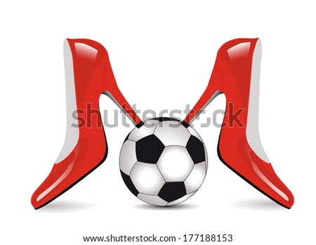 Red high heel women shoes with football  on white background Fashion and Sports  vector illustration   - stock vector