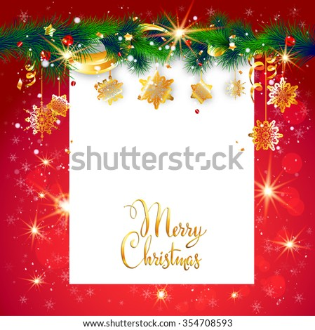 Red holiday frame with place for text. Christmas design for card, banner,ticket, leaflet and so on. - stock vector