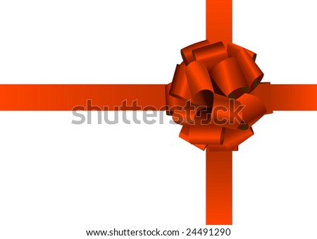 red holiday silk bow on white background - stock vector