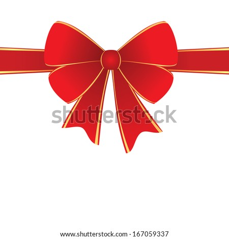 Red horizontal ribbon with bow isolated element - stock vector