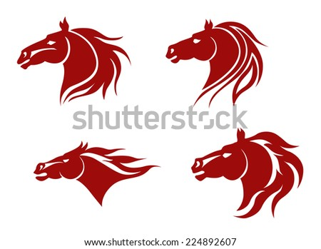 Red horse heads for mascot design. Vector illustration - stock vector