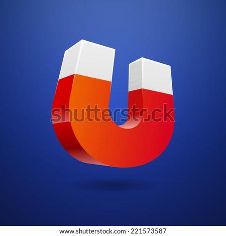 Red horseshoe magnet on blue background, vector illustration - stock vector