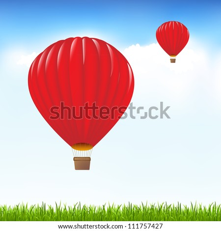 Red Hot Air Balloons Floating In Sky, Vector Illustration - stock vector