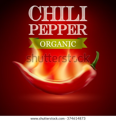 Red hot chili pepper with flame. on a red background. Vector illustration.  - stock vector