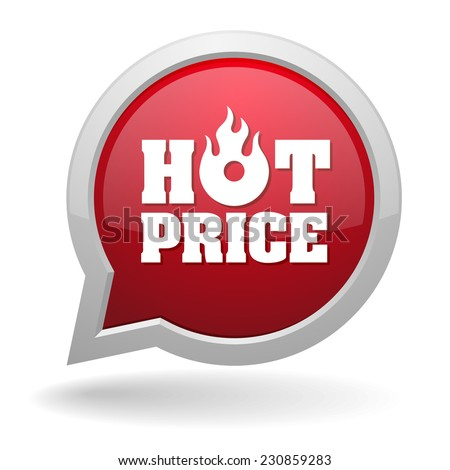 Red hot price speech bubble on white background - stock vector