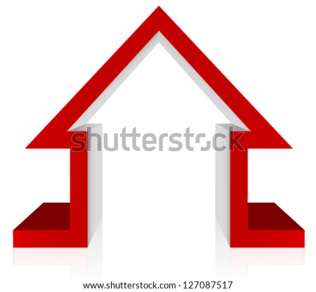 Red House 3D Vector � Home Security, Home Defense, Mortgage, Healthcare - stock vector