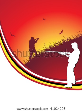 red hunter frame, vector illustration - stock vector