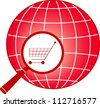 red icon - sign shopping cart in magnifier on planet silhouette - stock vector