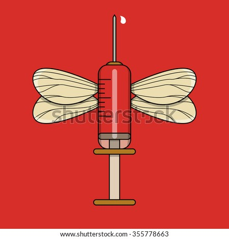 Red injection with mosquito wings - stock vector