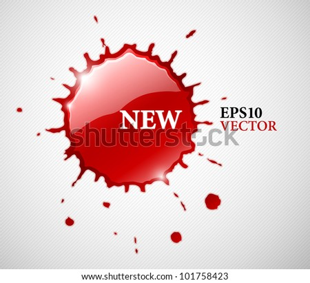red ink blob splash. Vector illustration. EPS10. Transparent objects used for shadows and lights drawing. - stock vector