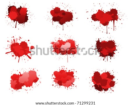 Red ink blobs isolated on white for design. Jpeg version also available in gallery - stock vector