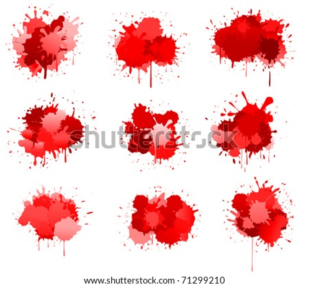 Red ink or blood blobs isolated on white for design. Jpeg version also available in gallery - stock vector