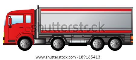 red isolated modern truck on white background - stock vector