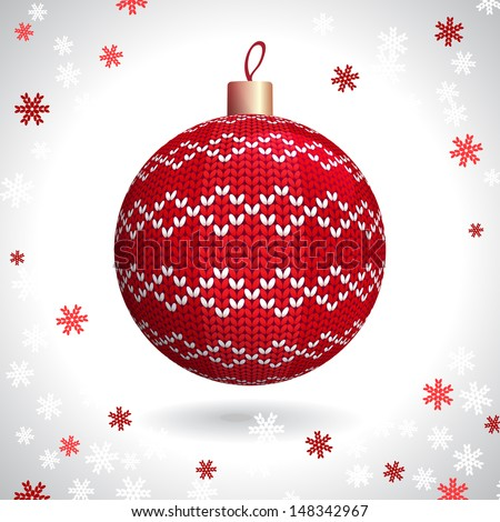Red Knitted Christmas Ball on the Background of Snowflakes Knitted, Vector Illustration EPS10 - stock vector