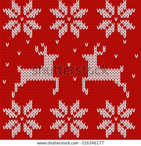 Red Knitted deer and stars sweater in Norwegian style. Knitted Scandinavian ornament. Vector seamless pattern - stock vector