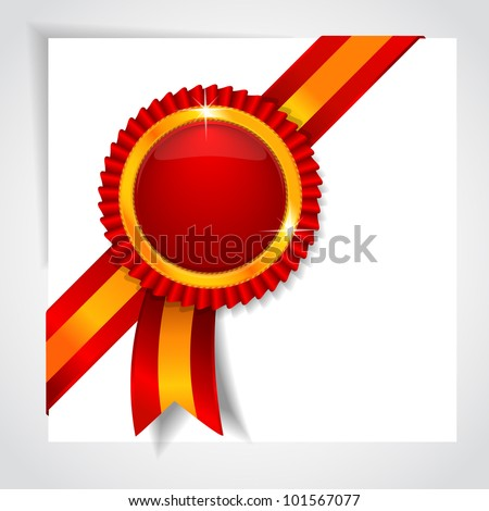 Red label with a diagonal tape - stock vector