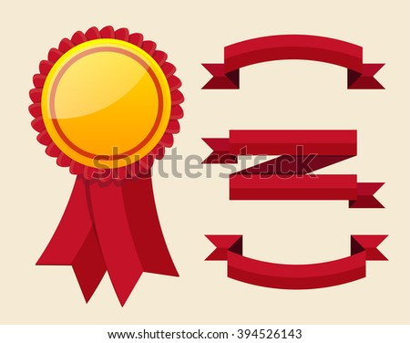 Red label with ribbons. Vector illustration EPS 10  - stock vector