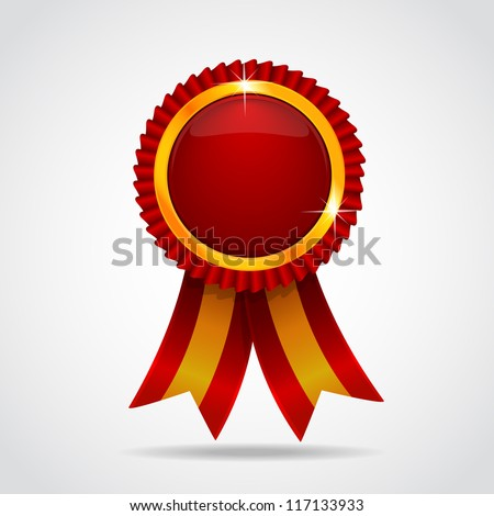 Red label with ribbons. Vector illustration. Vector illustration EPS 10 - stock vector