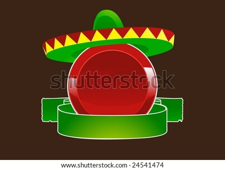 red label with sombrero - stock vector
