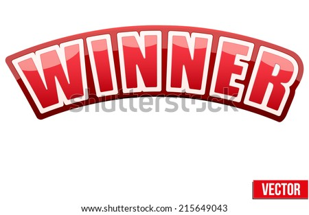 Red Label with white letters in the word winner. Vector illustration isolated on white background. - stock vector