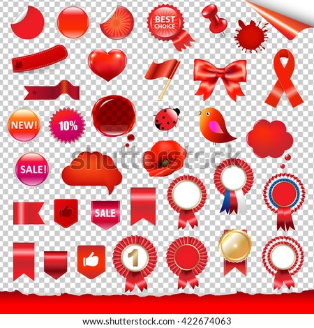 Red Labels And Symbols Set, Isolated on Transparent Background, With Gradient Mesh, Vector Illustration - stock vector