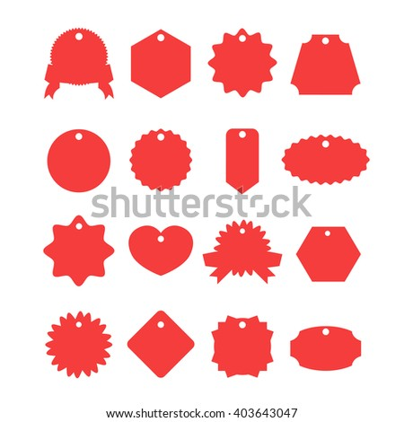 Red labels set. Trendy shapes for sale, shopping, e-commerce, internet business. Creative design elements for web banners, web sites, printed materials. Flat vector labels isolated on white background - stock vector