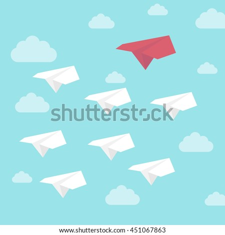 Red leading paper plane on blue sky background with clouds. Leadership, business, success, follow, motivation concept. Flat design. Vector illustration. EPS 8, no transparency - stock vector