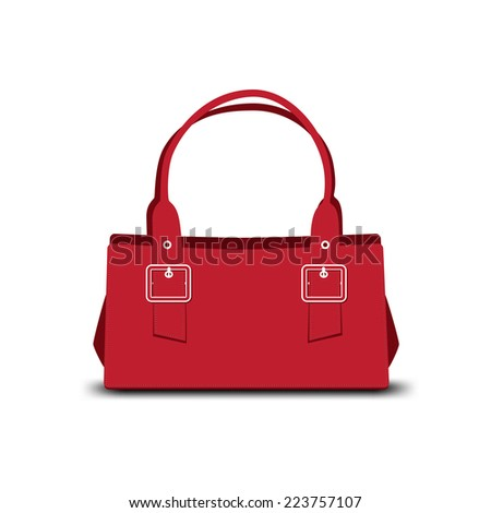 red leather ladies handbag on white background - stock vector