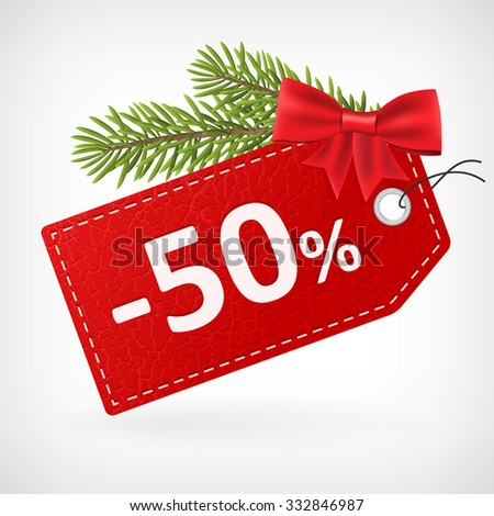 Red leather price christmas vector labels fifty percent sale off.  - stock vector