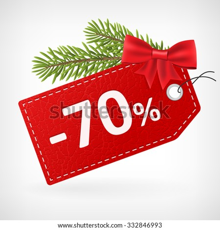 Red leather price christmas vector labels seventy percent sale off.  - stock vector