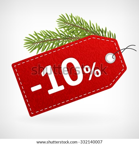 Red leather price christmas vector labels ten percent saleoff.  - stock vector