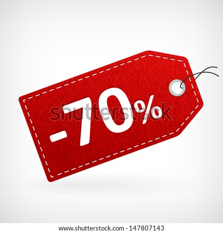 Red leather price vector labels seven-thy percent sale off. isolated from background. layered. - stock vector