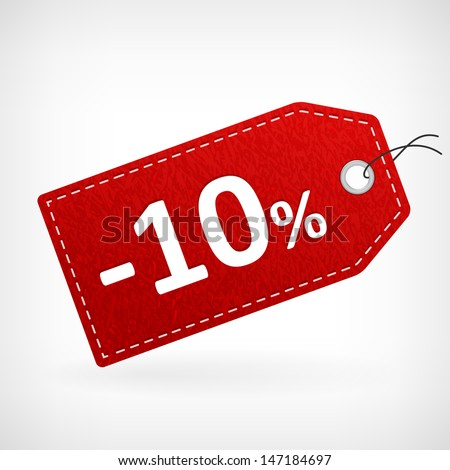 Red leather price vector labels ten percent sale off. isolated from background. layered. - stock vector