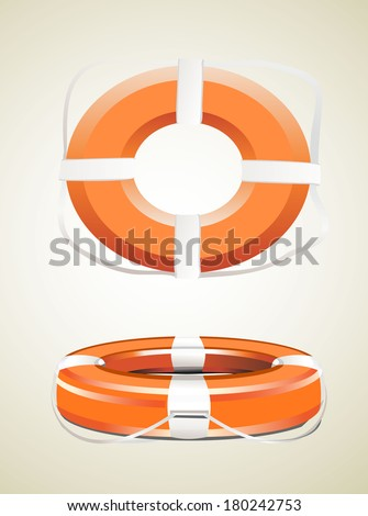 Red life buoy. Vector. - stock vector
