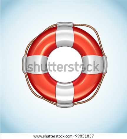 Red Life Buoy Vector Icon - stock vector