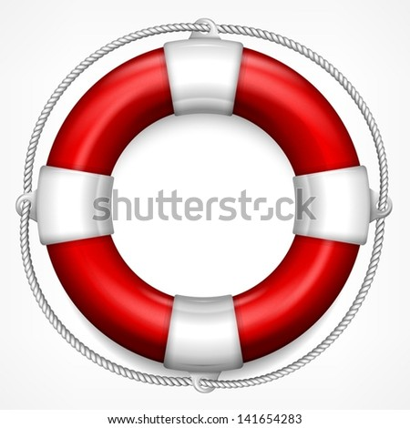 Red life buoy with rope isolated on white background, vector illustration. - stock vector