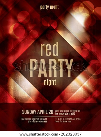 Red Light Effect party invitation flyer template - stock vector