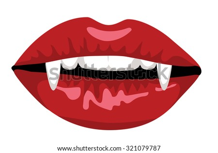 Red lips of vampire with long fangs isolated on white - stock vector
