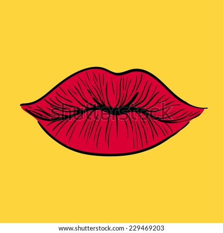Red lips. Vector illustration.  - stock vector