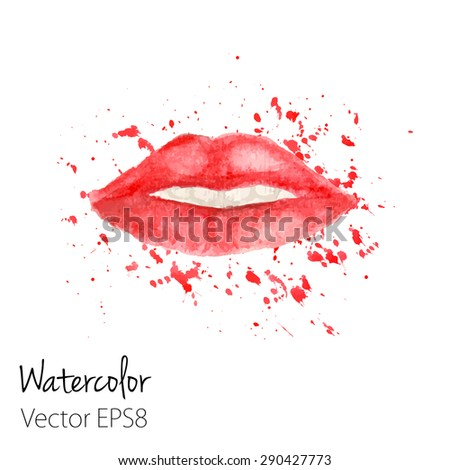 Red Lips with splashes painted in watercolor. Vector illustration for your design - stock vector