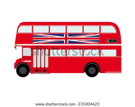 Red London Doubledecker Bus with Union Jack Flat Design Vector Illustration - stock vector