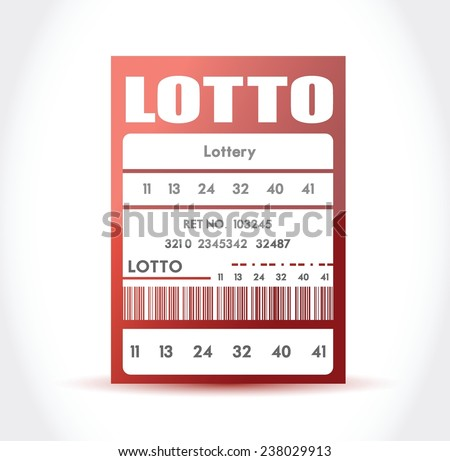 red lotto ticket illustration design over a white background - stock vector