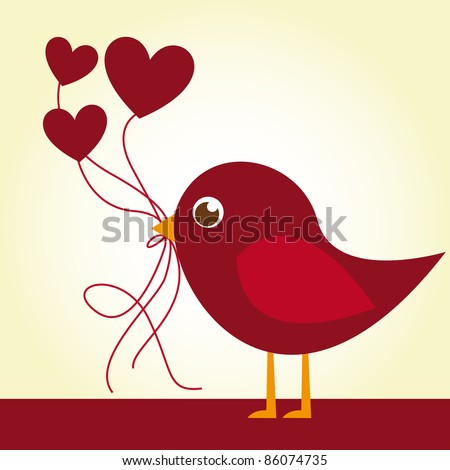 red love bird with heart balloons over beige background. vector - stock vector