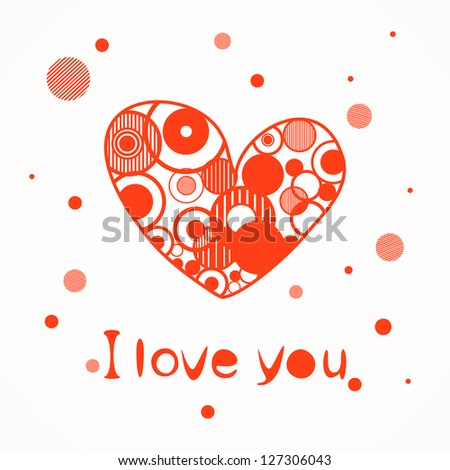 Red love hearts - stock vector