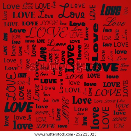 Red Love text background  - stock vector