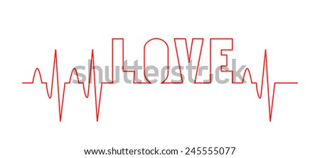 Red love word with EKG - medical design. Life line forming and writing letters love, vector art image illustration, isolated on white background, eps10 - stock vector
