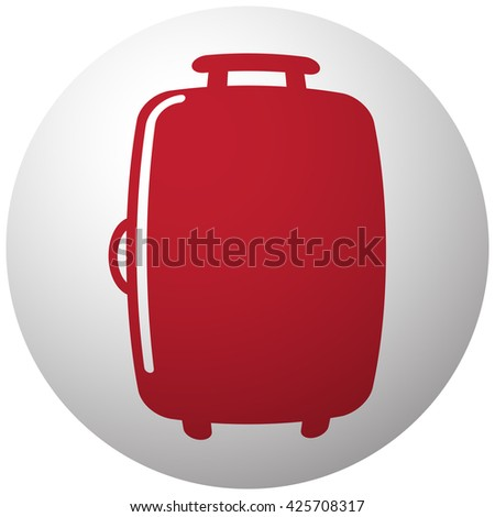 Red Luggage icon on white ball - stock vector