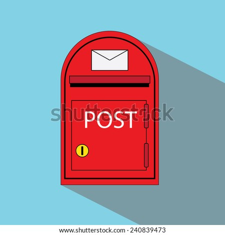 red mailbox silhouette, postbox with shadow - stock vector